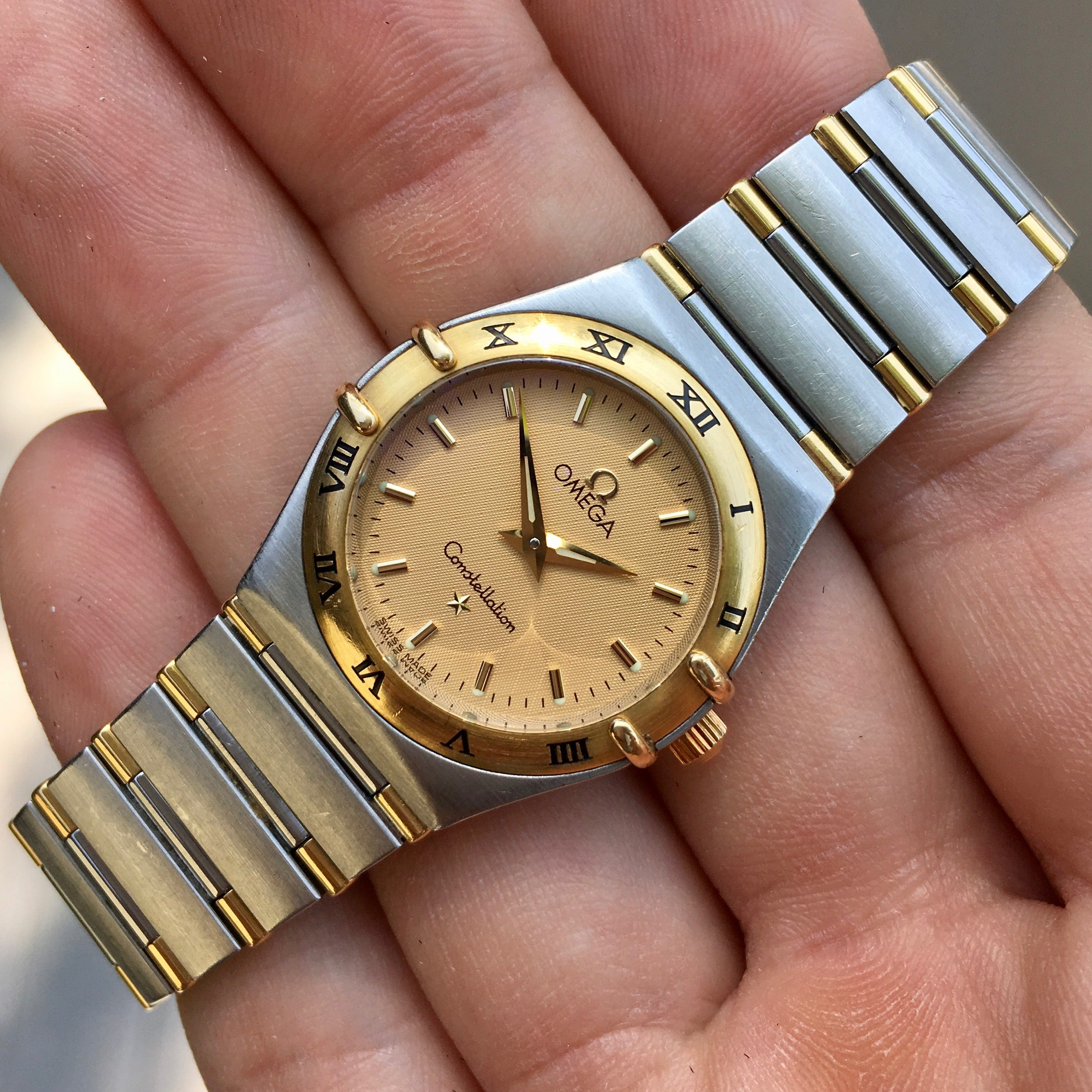 Omega Constellation Ladies Two Tone Steel Gold Champagne Quartz 25mm Wristwatch