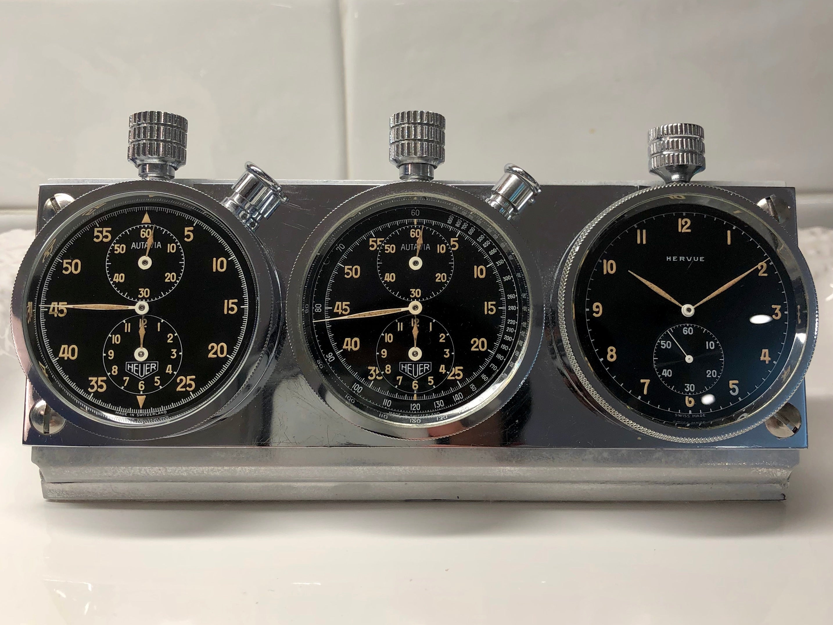 Heuer Rally Timer Autavia Dash Triple Set Timer Hervue Steel Chronograph Vintage Dashboard - Hashtag Watch Company