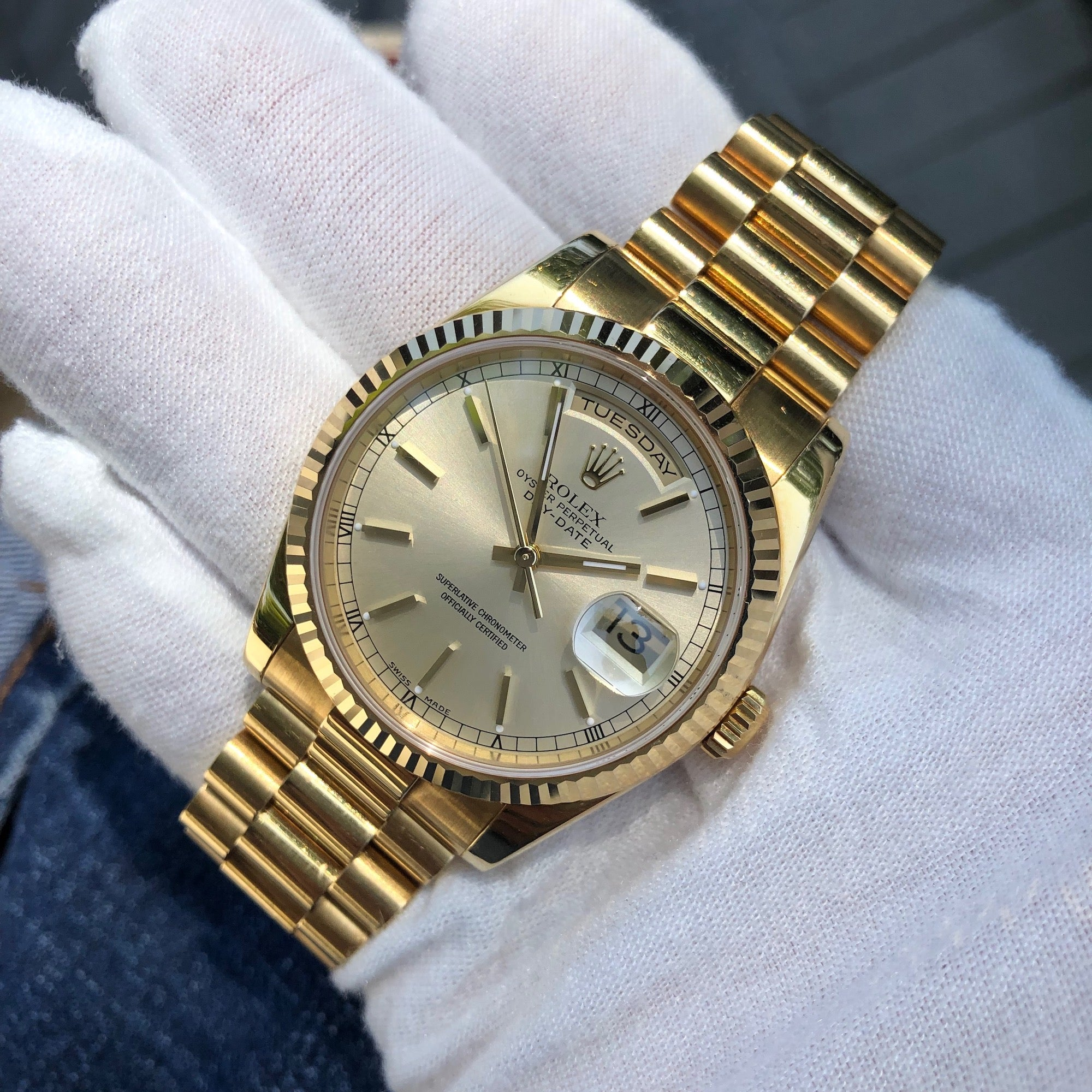 Rolex President 118238 Day Date 18K Yellow Gold Silver Stick Wristwatch Unpolished Box Papers - Hashtag Watch Company