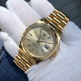 Rolex President 118238 Day Date 18K Yellow Gold Silver Stick Wristwatch Unpolished Box Papers