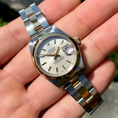 Rolex Datejust 69163 Silver Two Tone Oyster Steel Gold Ladies Wristwatch Box & Papers