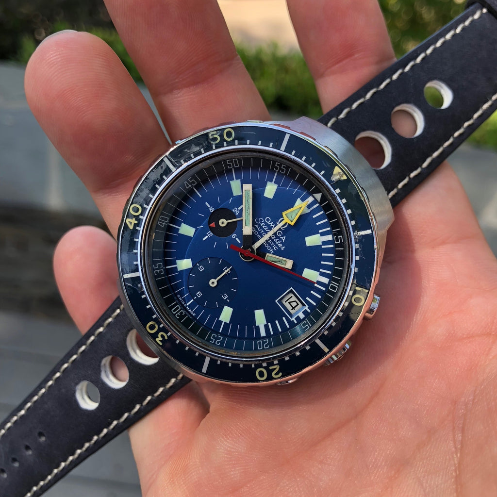 Vintage Omega Seamaster 120 Big Blue 176.004 Chronograph Automatic Wristwatch