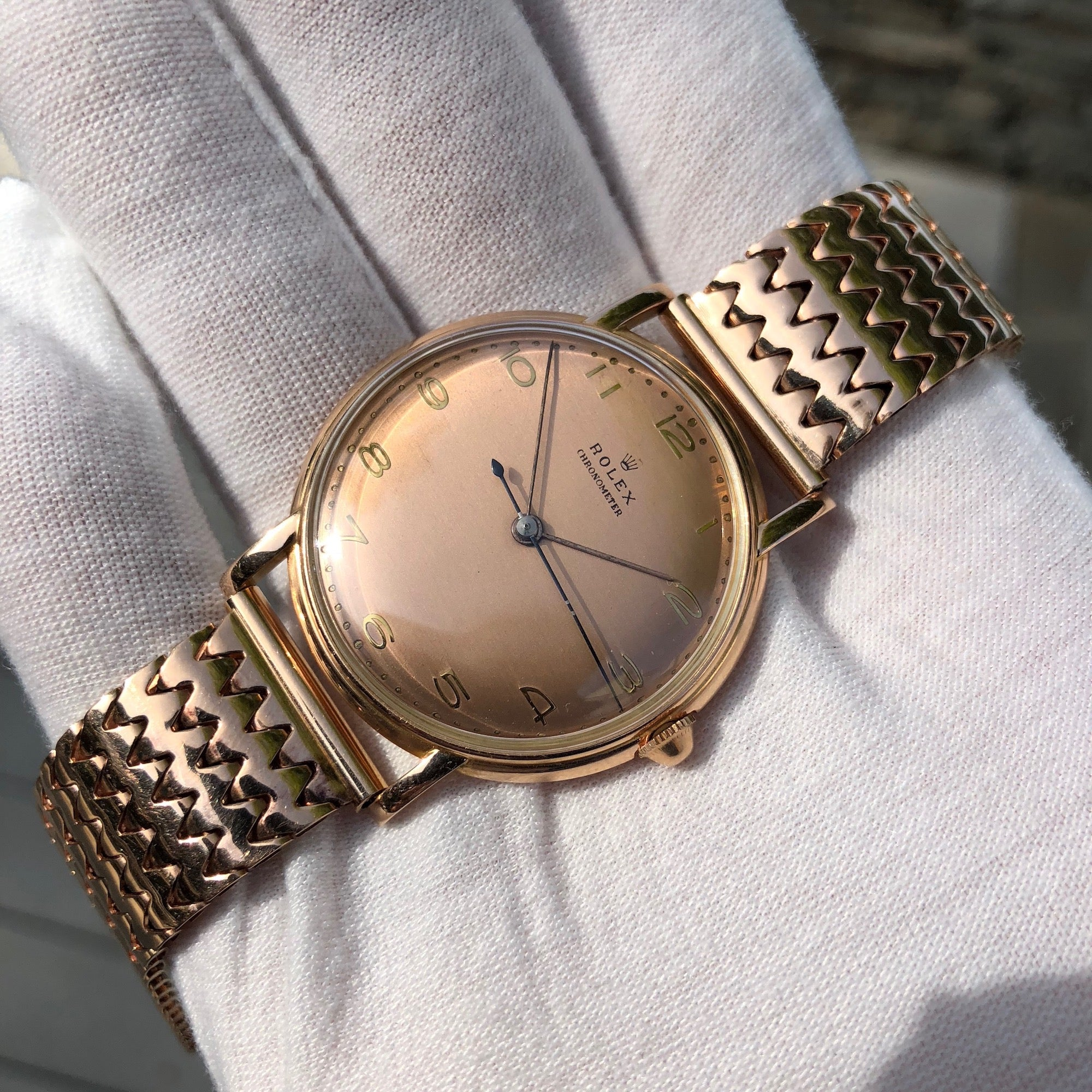 Vintage Rolex 4222 Chronometer 14K Rose Gold Manual 35mm Dress Wristwatch Circa 1955 - Hashtag Watch Company