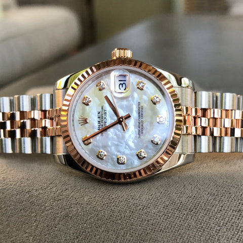 Rolex Datejust 178271 MOP Diamond Dial Midsize Steel Rose Gold Wristwatch Box Papers