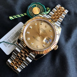 Rolex Datejust 126333 Champagne Diamond 41mm Steel Gold Two Tone Automatic Watch Box & Papers 2016