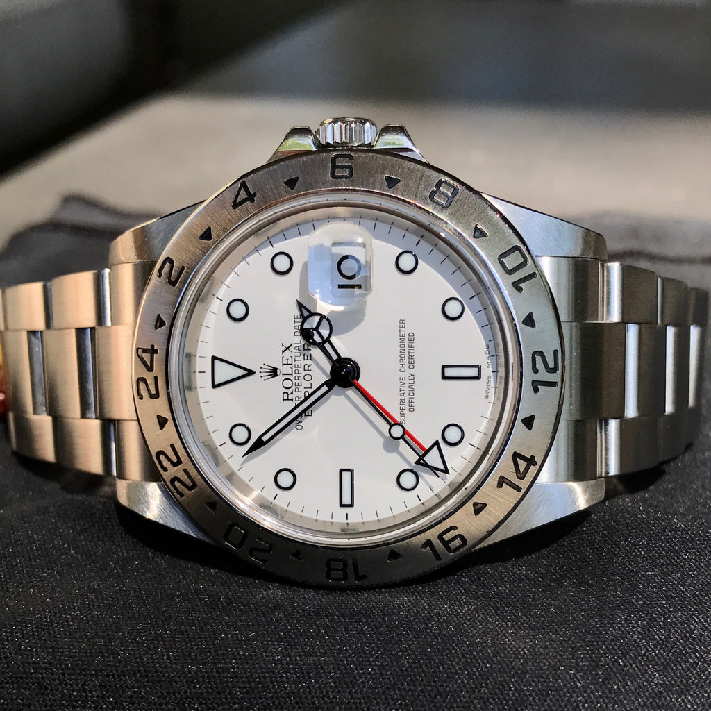 "Rolex Explorer II 16570 Stainless Steel GMT Oyster ""Z"" Serial No Holes Automatic Wristwatch Box & Papers"