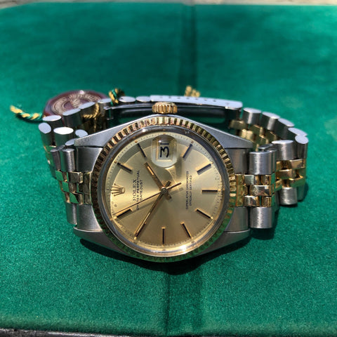 Vintage Rolex Datejust 1601 Sigma Steel Gold Two Tone Jubilee Champagne Automatic Wristwatch Box Papers Circa 1973