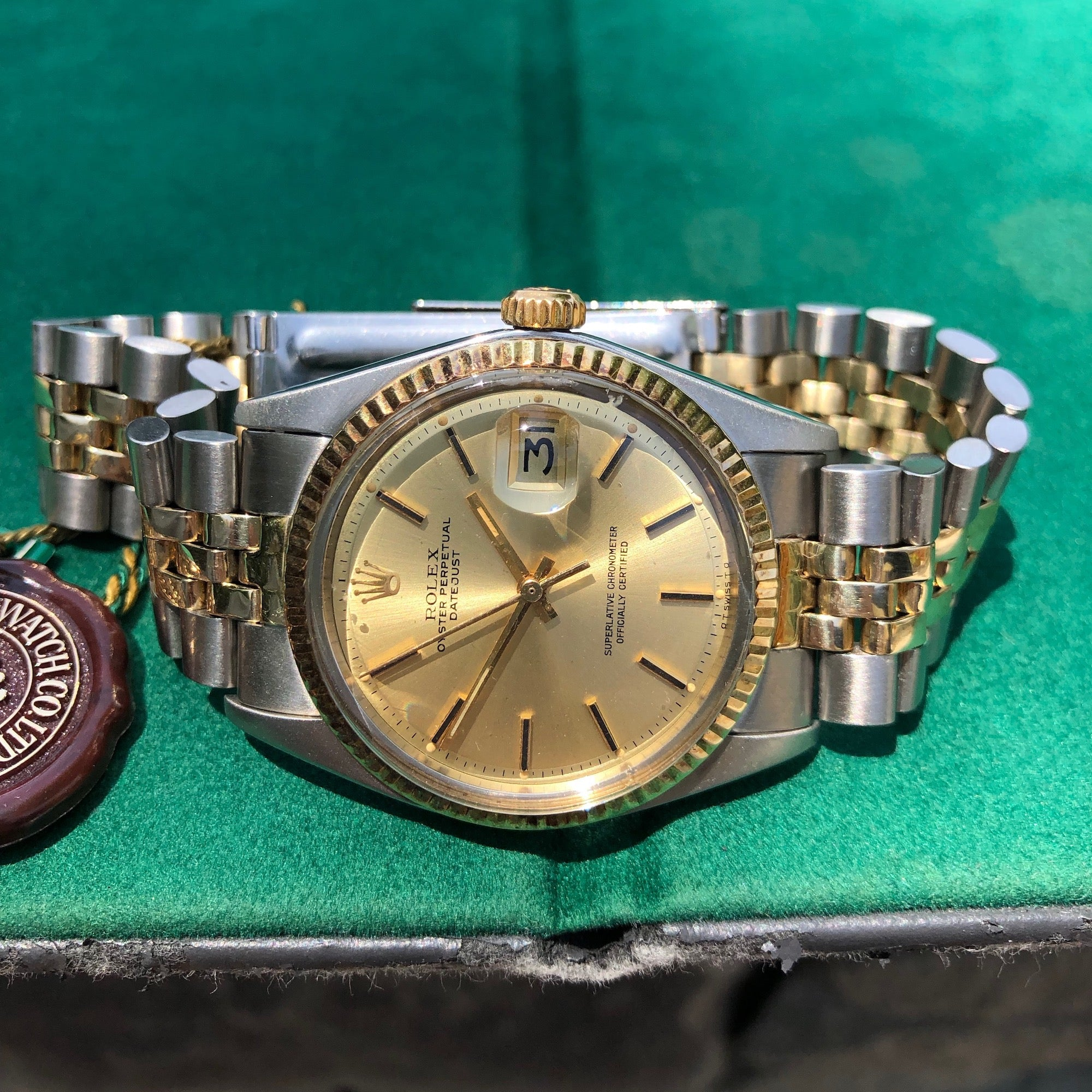Vintage Rolex Datejust 1601 Sigma Steel Gold Two Tone Jubilee Champagne Automatic Wristwatch Box Papers Circa 1973 - Hashtag Watch Company