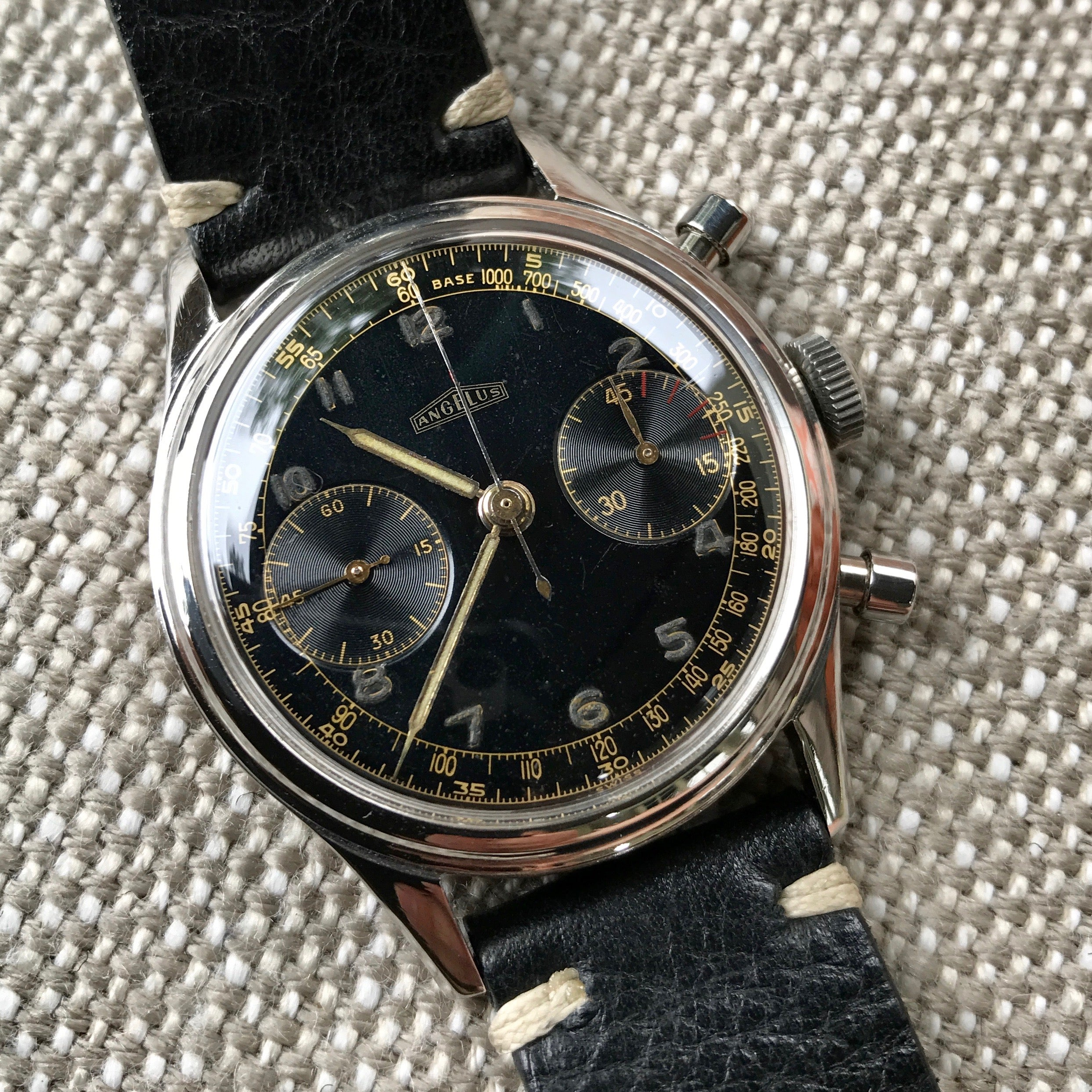 Vintage Angelus Stainless Steel Manual 38mm Cal. 215 Chronograph Black Wristwatch - Hashtag Watch Company