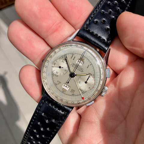 Vintage Angelus Chronodato Steel Chronograph Triple Date Calendar Manual Wristwatch Circa 1940's