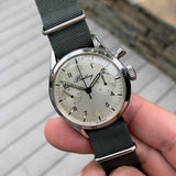 Vintage Breitling Single Button Canadian DND Steel Chronograph Valjoux 23 Wristwatch Circa 1960's
