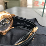 Blancpain Leman Serie Limitee Big Date 2850 18K Rose Gold Rubber Automatic Black Wristwatch