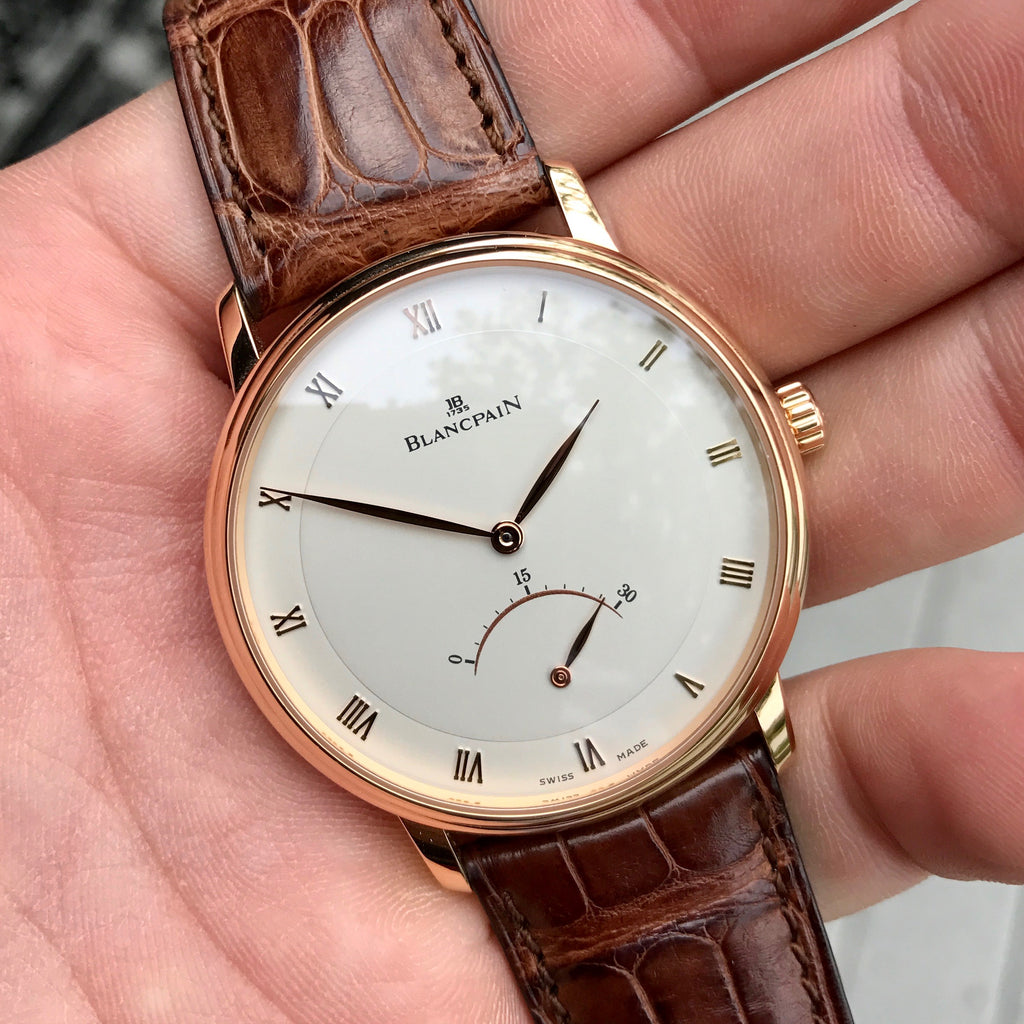 Blancpain Villeret Retrograde Seconds Ultra Slim 4063 18K Rose Gold Leather Automatic Silver Wristwatch - Hashtag Watch Company