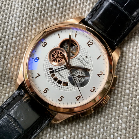 Zenith El Primero 18.0520.4021 18K Rose Gold Grande Class XXT Automatic Chronograph Wristwatch Box & Papers