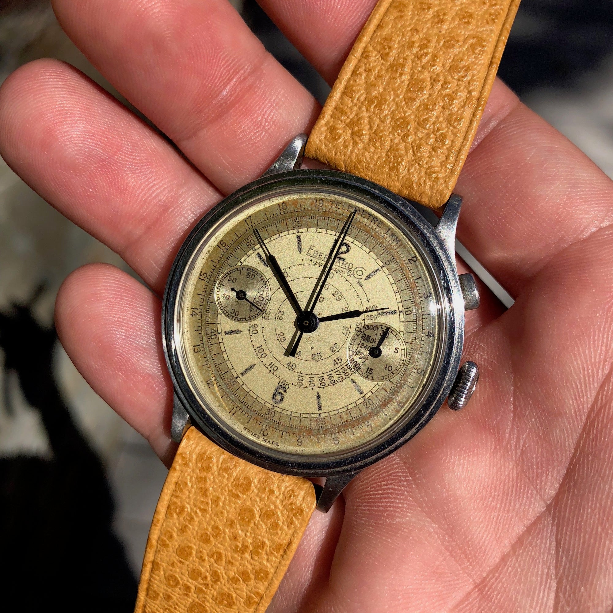 Vintage Eberhard & Co Single Button Steel Chronograph 40mm Oversized Wristwatch Circa 1940's - Hashtag Watch Company