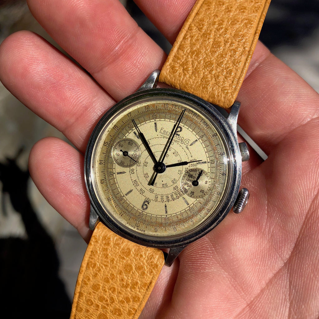 Vintage Eberhard & Co Single Button Steel Chronograph 40mm Oversized Wristwatch Circa 1940's