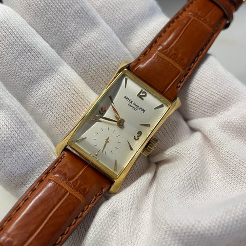 Vintage 1950's Patek Philippe Hour Glass 2468 Sigma Silver Dial Dress Wristwatch