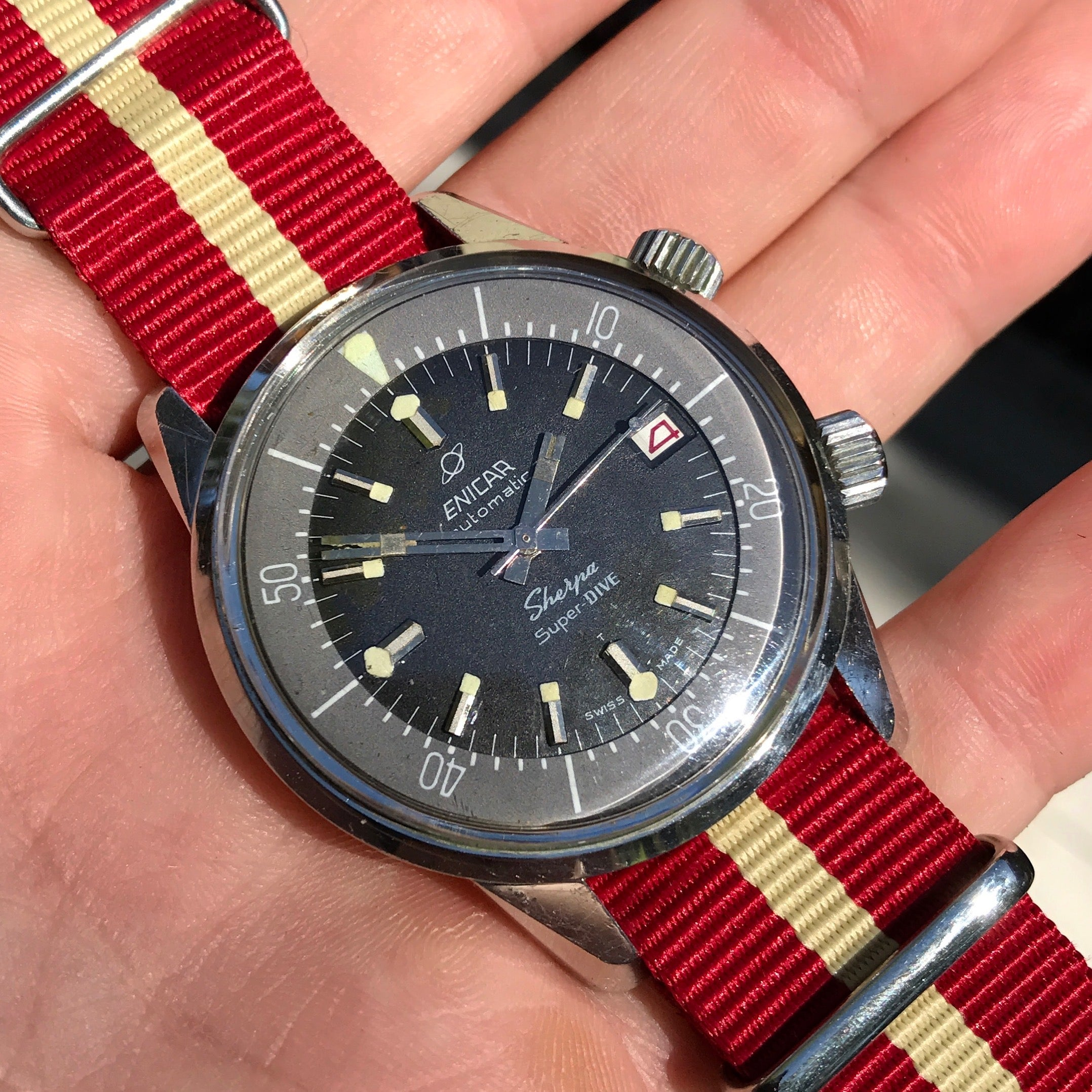 Vintage Enicar Sherpa Super Dive 2342 Polish Military Stainless Steel Automatic Compressor Wristwatch 1960's - Hashtag Watch Company