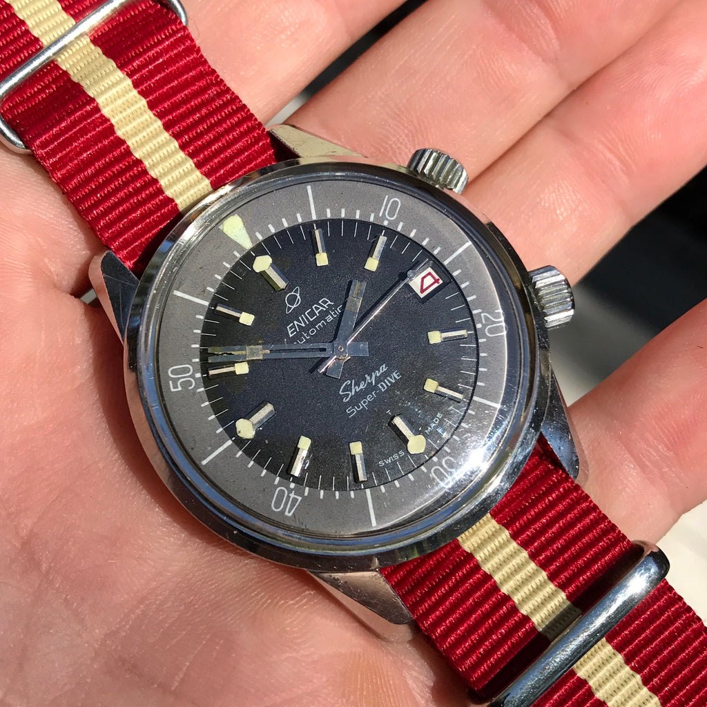 Vintage Enicar Sherpa Super Dive 2342 Polish Military Stainless Steel Automatic Compressor Wristwatch 1960's