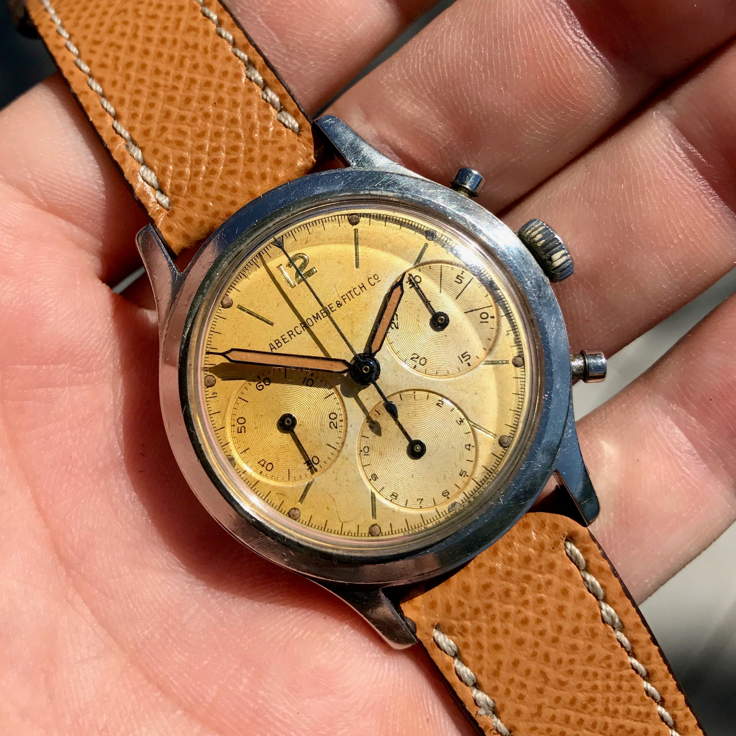 Vintage Abercrombie & Fitch Co. 2444 (Heuer) Chronograph Valjoux 72 Manual Steel Wristwatch