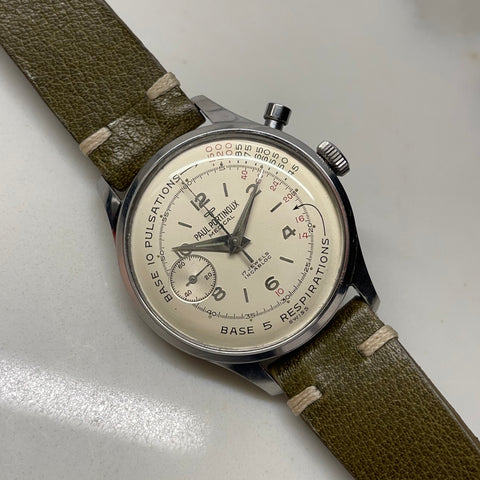 1960s Vintage Paul Portinoux Medical Pulsations Chronograph Single Button Valjoux 22 Steel Wristwatch