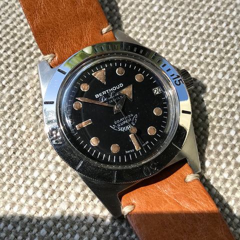 Vintage Berthoud De Luxe Super Squale 1157 Automatic Black Dial Leather Wristwatch