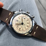 Vintage Doxa Spillman Case Stainless Steel Chronograph Manual 38mm Wristwatch