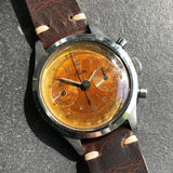 Vintage Croton Clamshell Steel Chronograph Caramel Patina Manual Wristwatch - Hashtag Watch Company
