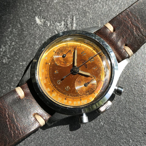 Vintage Croton Clamshell Steel Chronograph Caramel Patina Manual Wristwatch