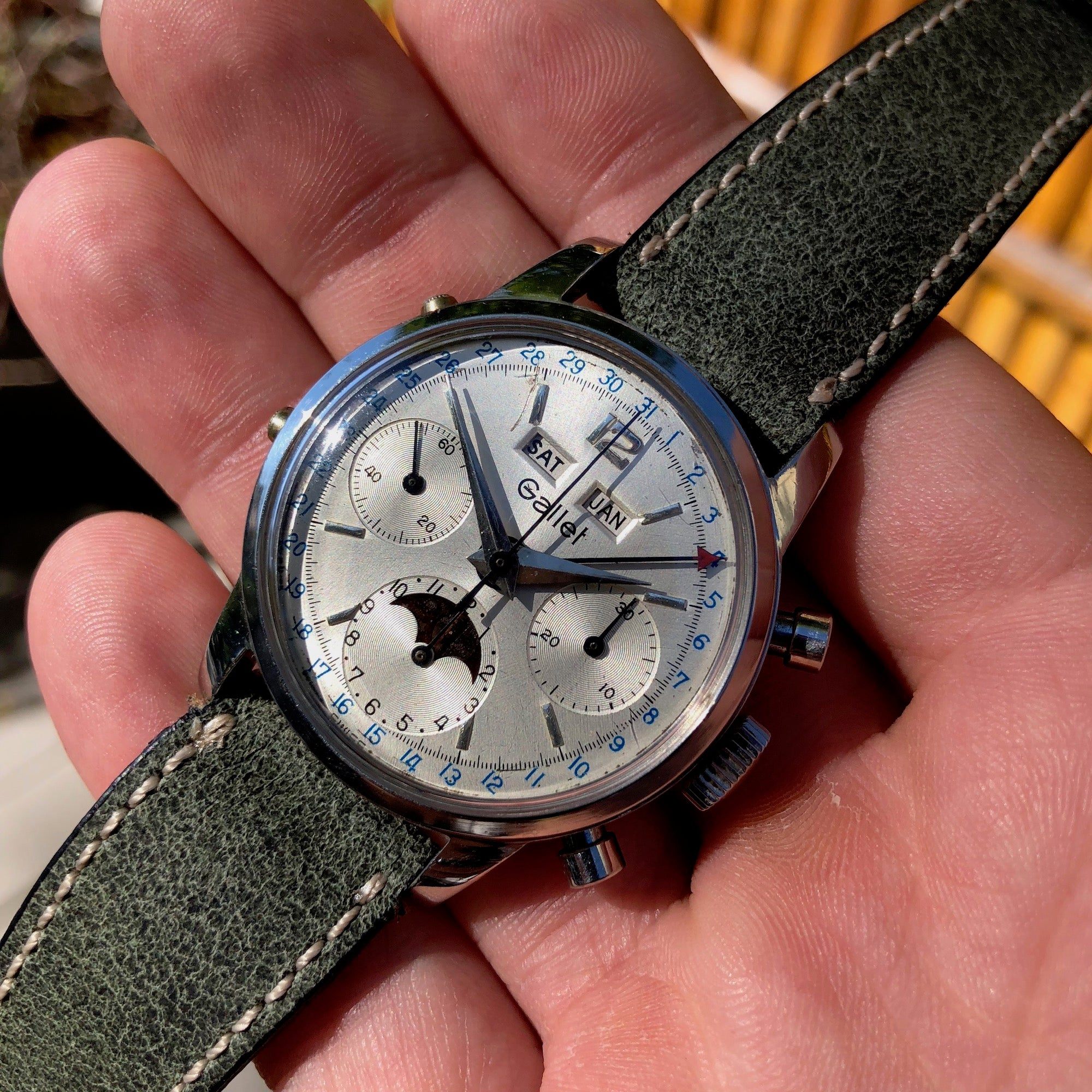 Vintage Gallet MultiChron Astronomic Steel Chronograph Valjoux 88 Triple Date Moonphase Wristwatch