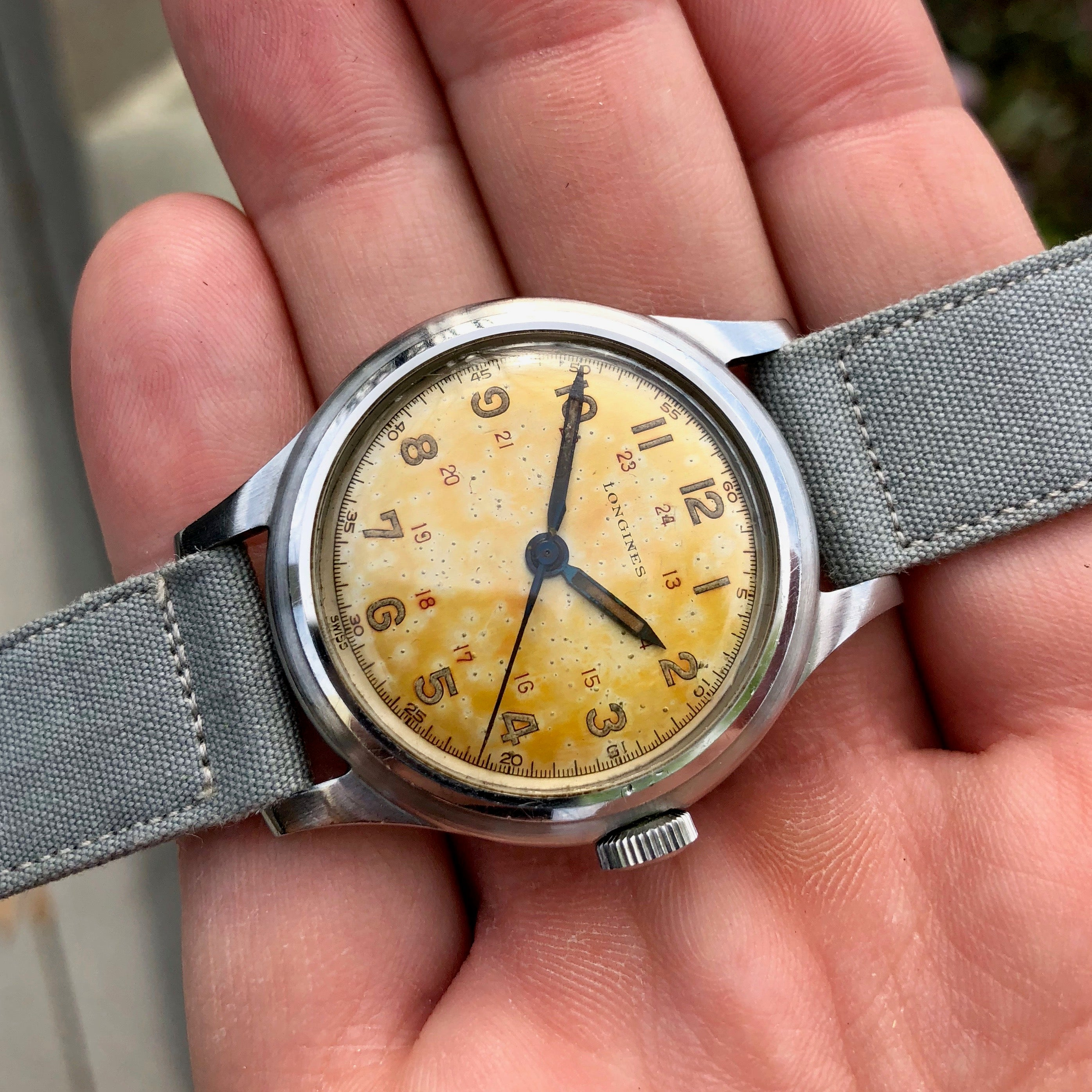 "Vintage Longines Caliber 23M Manual Wind ""Espresso"" Patina 33mm Steel 23042 Wristwatch - Hashtag Watch Company"