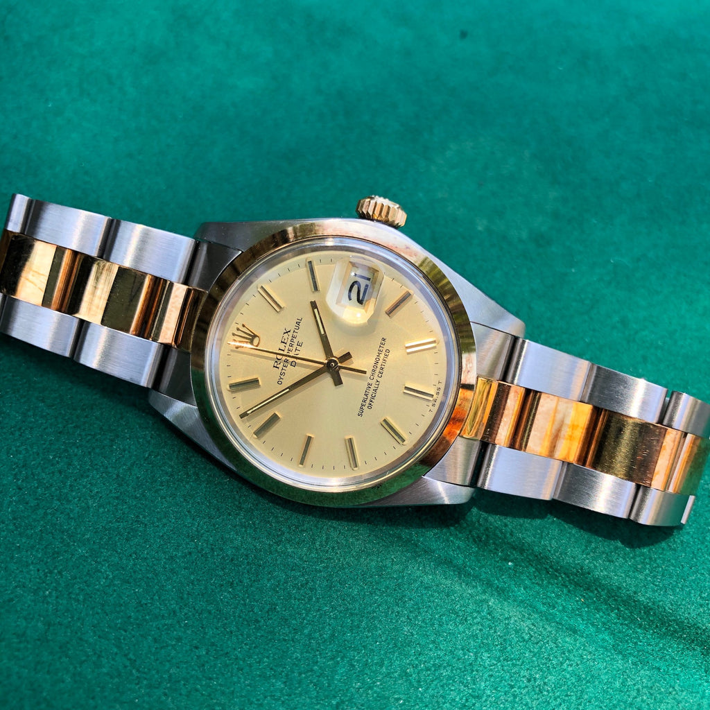 1974 Vintage Rolex Date 1500 Two Tone Champagne Stick Automatic Wristwatch New Old Stock - Hashtag Watch Company