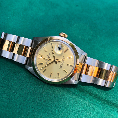Vintage Rolex Date 15053 Two Tone Steel 18K Yellow Gold Black Jubilee Wristwatch Circa 1984