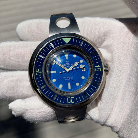 Vintage Aquadive 1000 Blue Stainless Steel Automatic Diving Wristwatch Circa 1960s