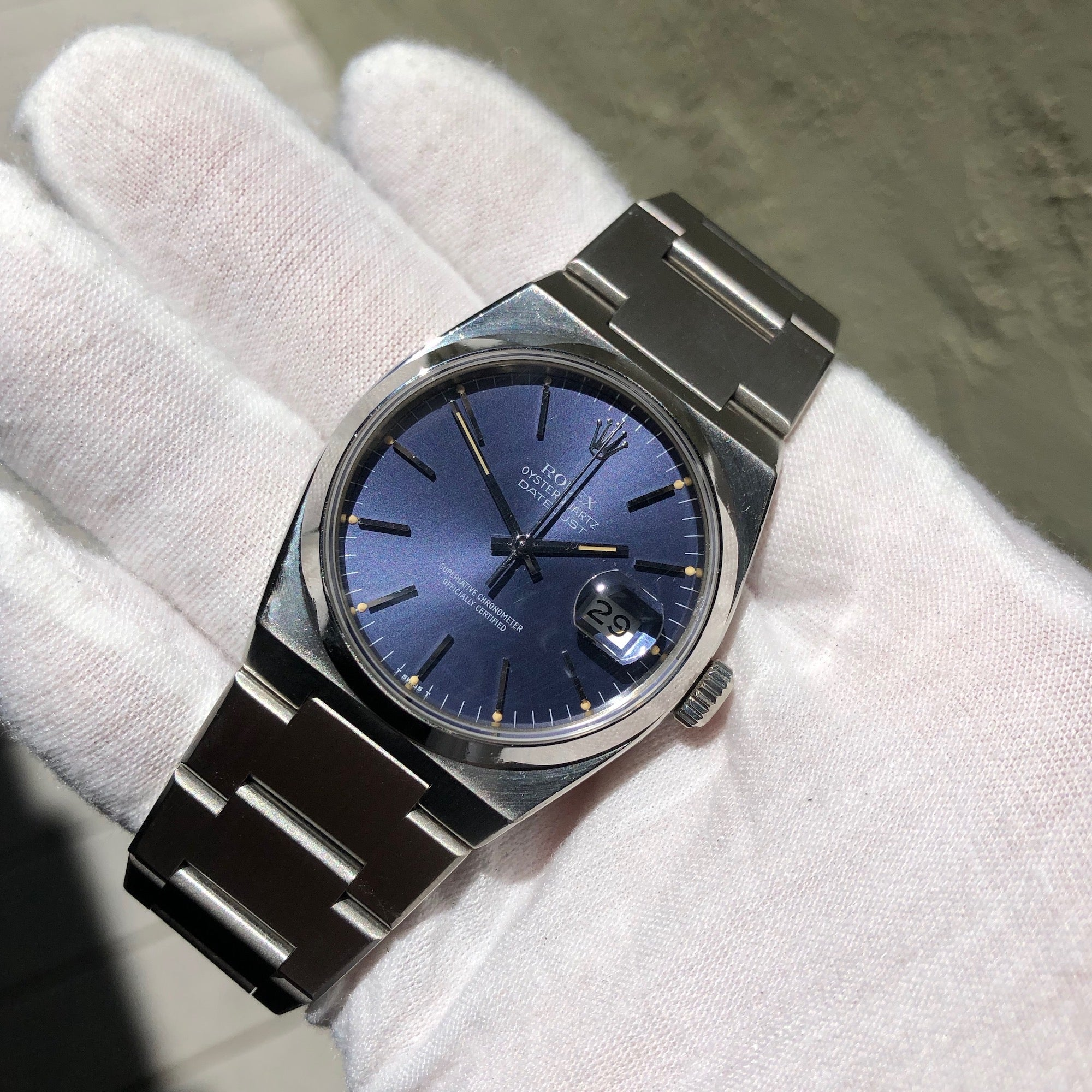Vintage Rolex Datejust Oysterquartz 17000 Stainless Steel Tropical Wristwatch Circa 1982 - Hashtag Watch Company