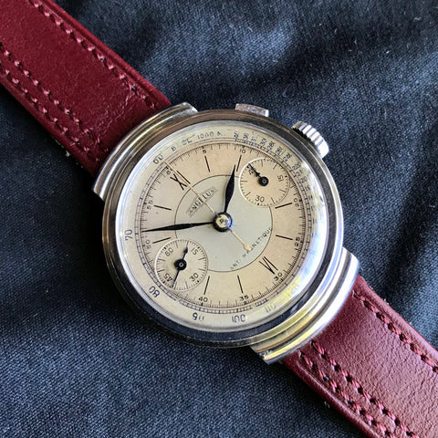 Vintage Angelus Mono Pusher Chronograph Step Case Manual Wind Anti Magnetique Wristwatch
