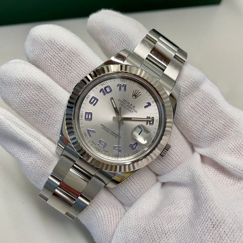 2014 Rolex Datejust II 116334 Rhodium Arabic Fluted 18K Steel Oyster 41mm Wristwatch Box Papers