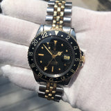 Vintage Rolex GMT MASTER 1675 Black Tiger Eye Nipple Jubilee Bracelet Wristwatch Circa 1978