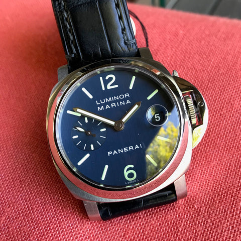 Panerai Luminor Marina PAM 70 Automatic Stainless Steel Blue Wristwatch Box Papers