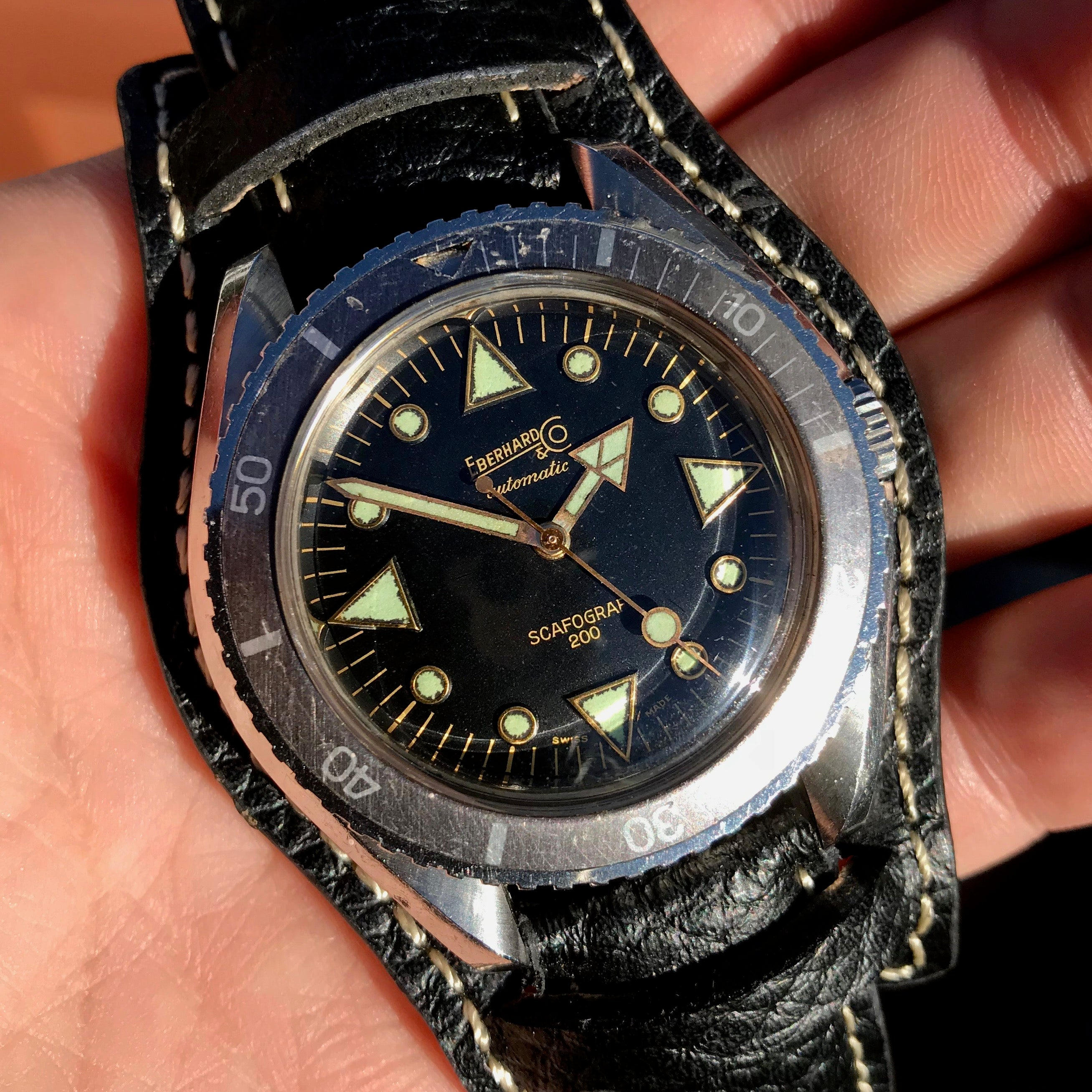 Vintage Eberhard & Co. Scafograf 200 Stainless Steel Divers Gilt Wristwatch - Hashtag Watch Company