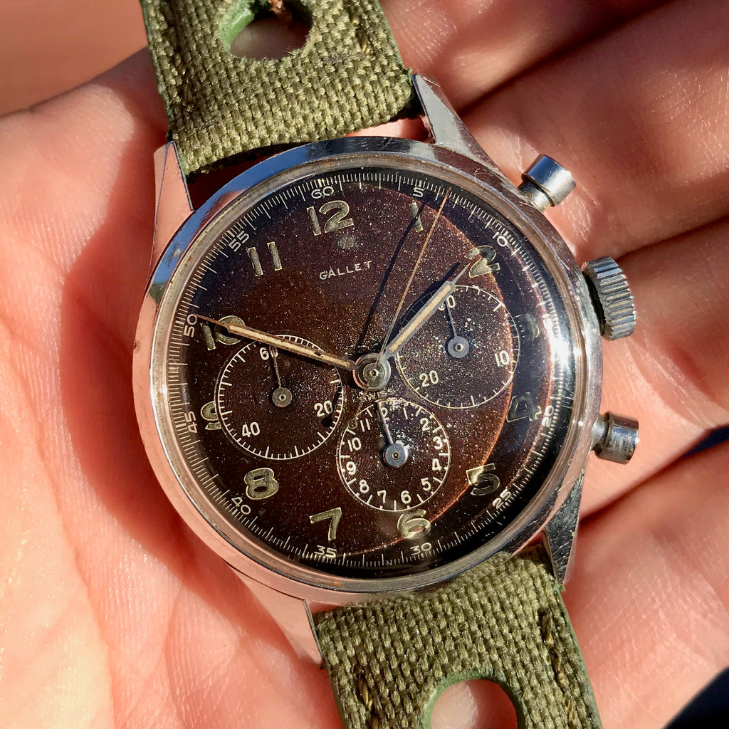 Vintage Gallet Stainless Steel Pre Jim Clark Excelsior Park Chronograph Tropical Wristwatch
