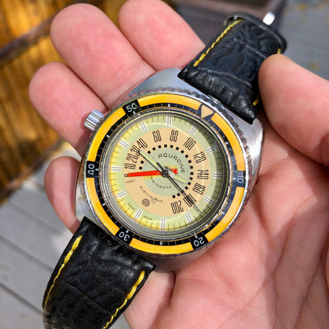 Vintage Aquadive Combination Electronic Depth Gauge Stainless Steel Wristwatch