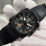 Bell & Ross BR01-93 GMT Black Automatic Date Mens Leather Wristwatch - Hashtag Watch Company