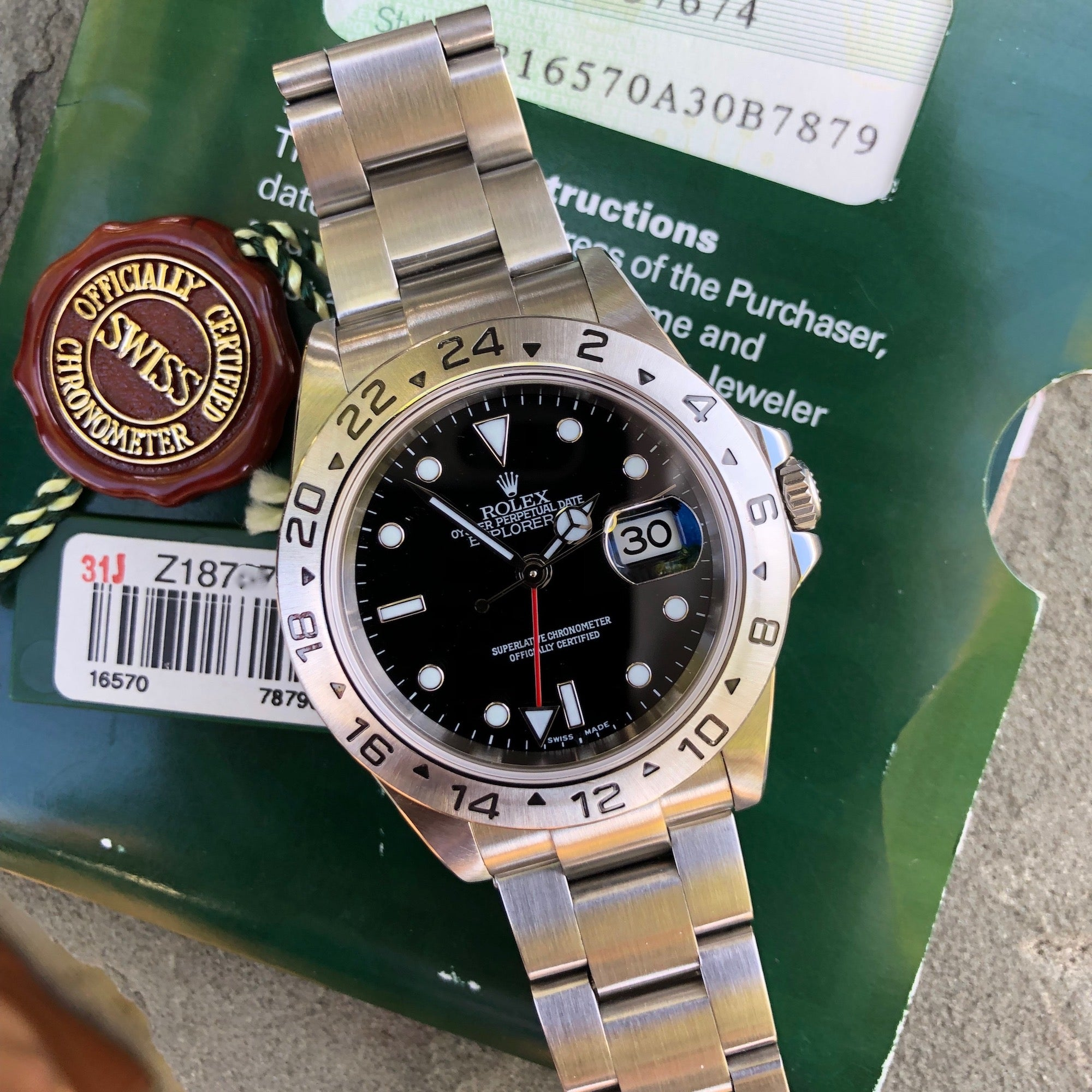 Rolex Explorer II 16570 Black Stainless Steel GMT Oyster Z Serial Wristwatch Box & Papers Circa 2006 - Hashtag Watch Company