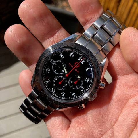 Omega 3557.50.00 Speedmaster Broad Arrow Olympic Collection Chronograph Wristwatch Box Papers