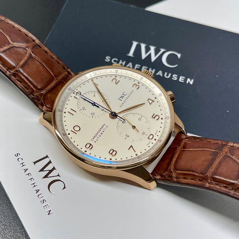 2020 IWC Portugieser IW371480 18K Rose Gold Automatic Chronograph Wristwatch Box Papers