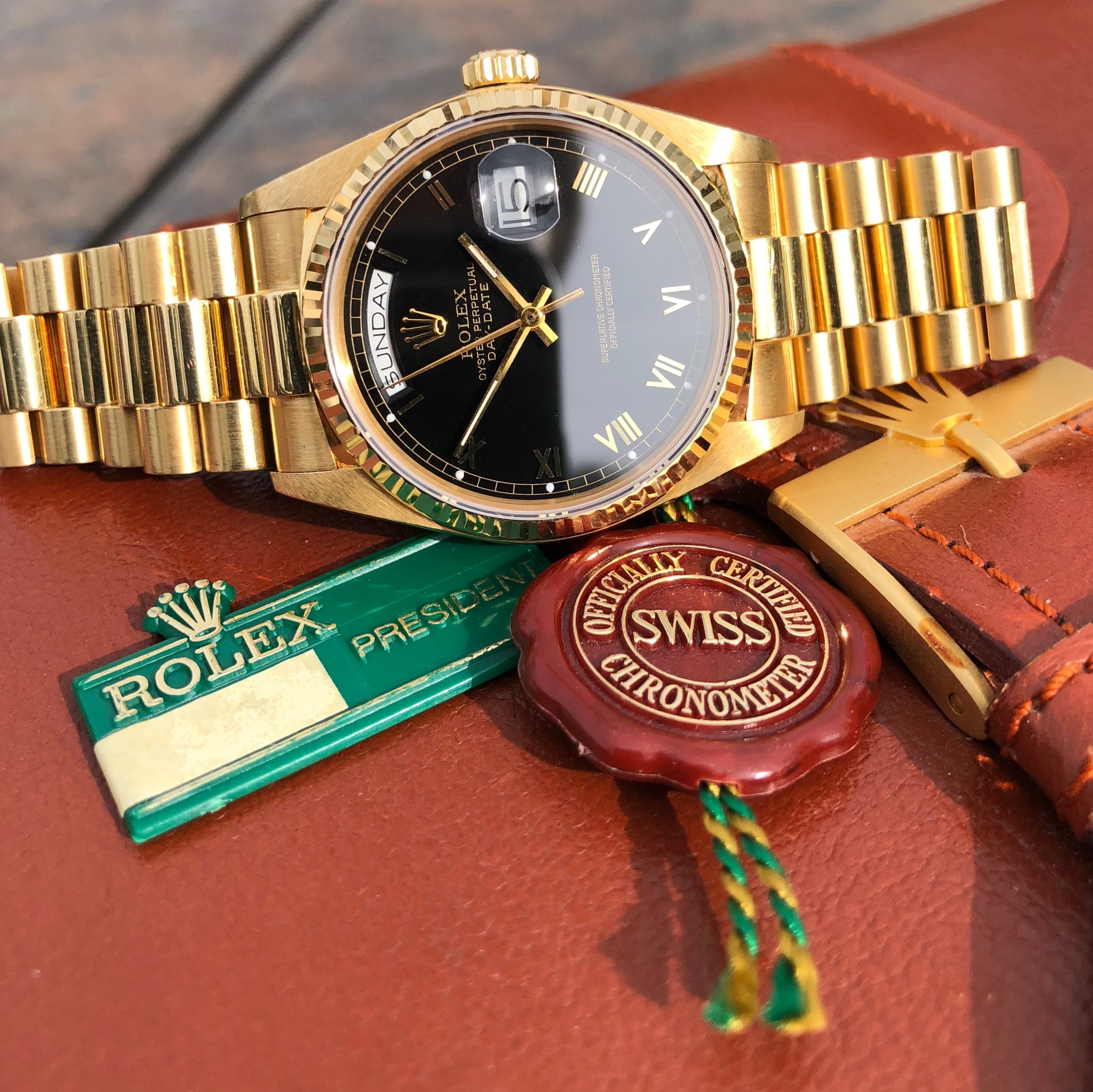 Rolex President 18038 Day Date 18K Yellow Gold Black Roman Circa 1984 Box & Tags - Hashtag Watch Company