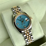 Rolex Datejust 179173 Jadeite Blue Diamond Dial Ladies Jubilee Two Tone Automatic Wristwatch Box & Papers