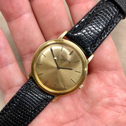Vintage Patek Philippe Calatrava 3520 18K Yellow Gold Screw Back Manual Wind Wristwatch