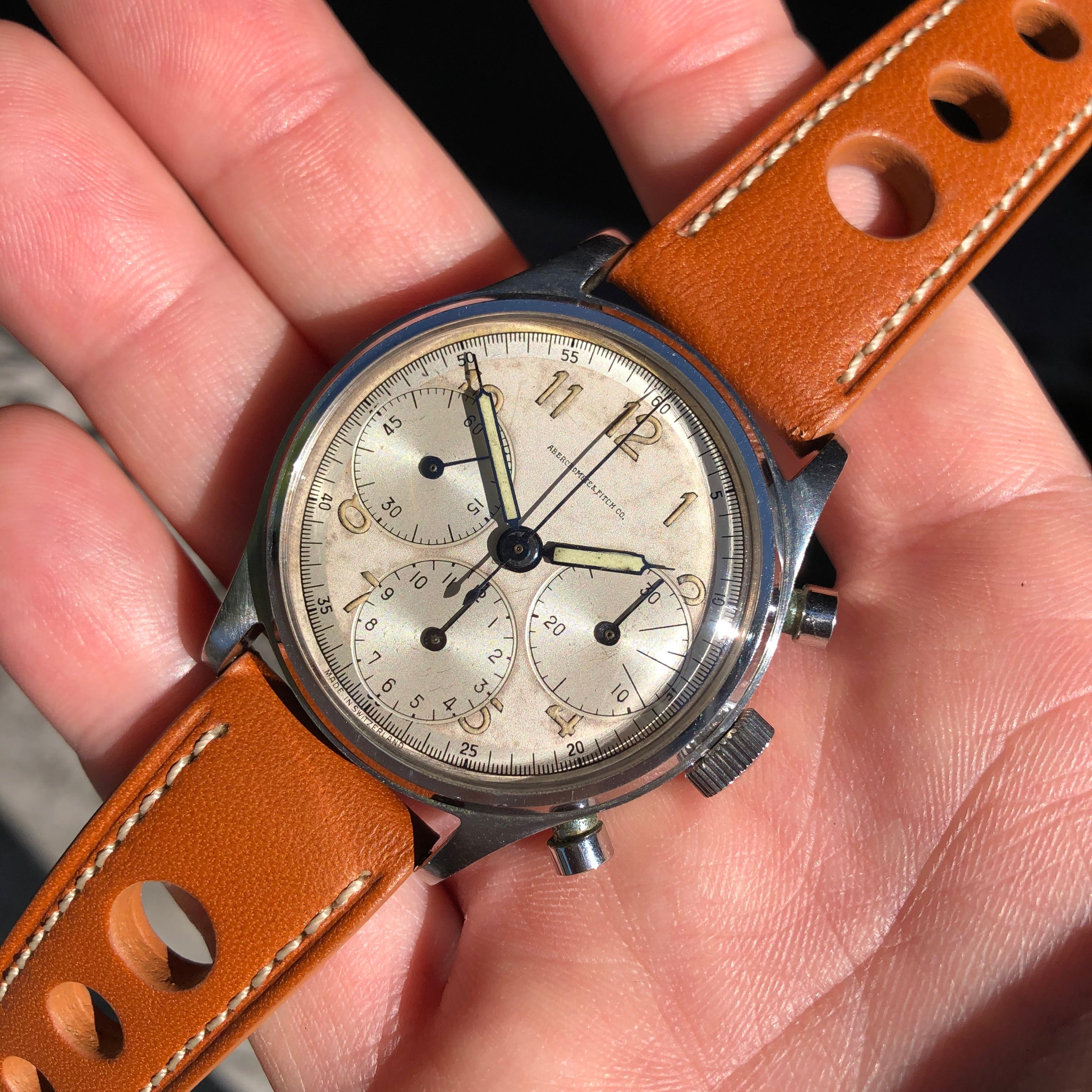 Vintage Abercrombie & Fitch Co. 59322 Heuer Chronograph Valjoux 71 Manual Steel Wristwatch - Hashtag Watch Company